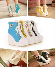 Womens Lace Up High TOP Heel Platform Sneakers Shoes Ladys Ankle Wedge Boots New
