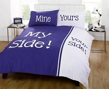Rapport Panel Print Navy Blue My Side Your Side Couple Bedding His Hers Bedroom