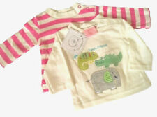 2 Pack Long Sleeve Baby Tops/ Tshirts Boys Blue / Girls Pink Embroidered Designs