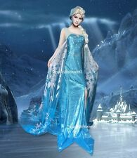 J747 Movies Frozen Snow Queen ELSA Cosplay Costume Dress tailor HANDMADE CUSTOM