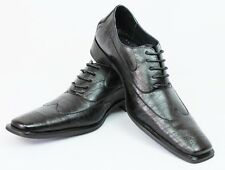 New Men's Black Ferro Aldo Shoes Wing Tip Lace Up Oxfords Leather Lining Modern