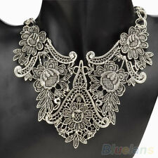 Vintage Silver Plated Flower Hollow Statement Bib Choker Chain Pendant Necklace