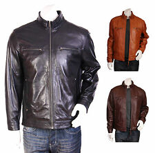 Fitted Casual Zipper Leather Jacket Standing Collar Biker ALEC Black Brown Tan