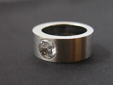Wide Heavy Stainless Steel Ring With Swarovski Stone 12 Mm