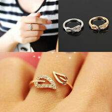 Womens Fashion Simple Two Leaves Design Crystal Ring Gift Jewelry Gold/Silver