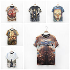 2014 Men's Women's 3D Space Galaxy Skull Floral Figure Tee Round Top T-Shirt T01