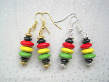 RASTA COLOURS Wood Bead Stack earrings Red Gold Green Silver or Gold Plated