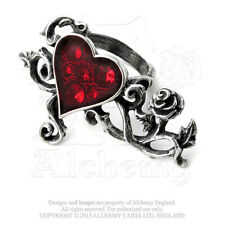 Alchemy BED OF BLOOD ROSES heart red finger spanning ring crystal goth R180