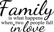 Family Is What Happens When Two People Fall In Love Vinyl Wall Decal Sticker