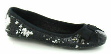 Girls Spot On Black & Silver Sequin Slip On  Shoes with Bow Trim  Style: H2178
