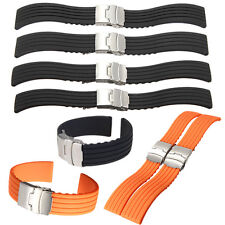 18-24mm Mens Silicone Rubber Watch Strap Band Waterproof with Deployment Clasp