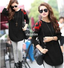 Fashion Women Winter Long Sleeve Loose Knitted Medium Long Pullover Sweater Tops