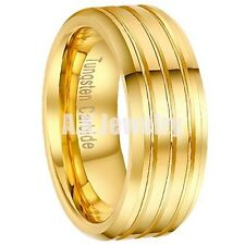 8MM Mens Two Groove All Gold 18K Plated Tungsten Carbide Bridal Ring Size 7-13