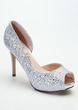 David's Bridal Wedding & Bridesmaid Shoes High Heel D Orsay Glitter Pumps
