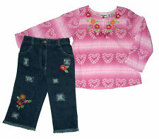 NWT Young Hearts Pink 2 Piece Outfit Capri Denim Pants Kids Girls Size 5 6 6X