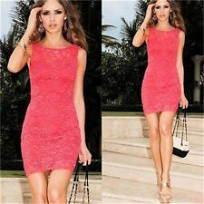 Sexy Women Lace Floral Prom Party Evening Cocktail Bodycon Mini Short Dress-H