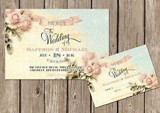 PERSONALISED SHABBY CHIC VINTAGE FLORAL WEDDING INVITATIONS
