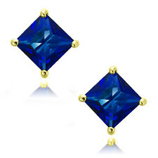 Blue Sapphire Square Princess Cut CZ Crystal Sterling Silver Stud Earrings