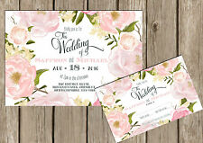 PERSONALISED SHABBY CHIC VINTAGE SUMMER PINK FLORAL WEDDING INVITATIONS