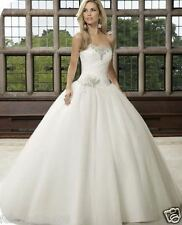 New Stock White Ivory Wedding Bridal dress Formal Ball gown Size 6 8 10 12 14 16