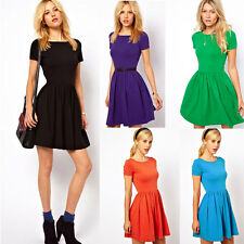 Fashion Women Summer Pleated Cotton Slim Short Sleeve Skater Party Dress 5 Color