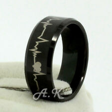 8mm Mens Black Comfort Fit Tungsten Carbide Ring w/ Forever Love Hearbeat Design