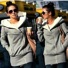 Women Long Sleeve Hoodie Hooded Coat Jacket Outwear Sweatshirt Zipper Tops Sz M