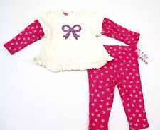 Carters 2 Piece Velour Set Ivory Fuchsia Girls Newborn Infant Girls 3-24 Months