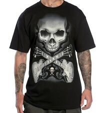 Sullen Clothing ROCK BADGE By Bob Tyrrell Skull Cross Guitar Tattoo Inspired Tee