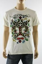 100% Auth New Ed Hardy Striped Dragon Signs White Graphic Men Tee Tshirt Top