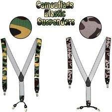 Mens Camouflage Wide Elastic Suspenders Adjustable Braces Belt Clip-On 2Colors