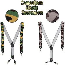 "Mens Wide Elastic Suspenders Adjustable Braces Belt Clip-On 1.3"" Width 2Colors"