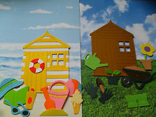 12 GARDEN SHEDS / BEACH HUTS - WHEELBARROW, PICKET FENCE, SUNGLASSES. ICE CREAM.