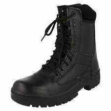 Mens Truka Black Leather Lace Up Combat Boots Style 01639