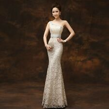 Single shoulder dress fishtail lace long evening dress cultivate one's morality