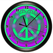 PURPLE PEACE SIGN WALL CLOCK PERSONALIZED GIFT DECOR GIRL BEDROOM DECOR TEENAGER