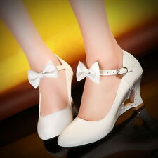 Womens Girls Sweet Candy Bow Mary Jane Wedge Heel Heart Pump Shoe Lita Plus Size