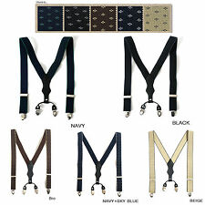 "Mens Wide Elastic Suspenders Adjustable Braces Belt Clip-On 1.37"" Width 5 Colors"