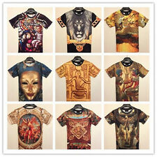 New 2014 Fashion Womens Mens 3D Skull Ethnic Animals Round Top Tee T shirt TS01