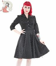 HEARTS & ROSES H&R 50's SMALL POLKA DOT rockabilly TEA DRESS BLACK