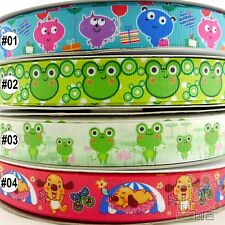 "22mm(7/8"") Mixed Frog Dog Cartoon Grosgrain Ribbon 5/100 Yards Craft Sewing DIY"