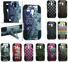 HYBRID SILICONE SKIN + HARD KICKSTAND CASE FOR Motorola Model Cell Phones