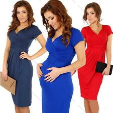 New Fashion Maternity Pregnant Women Summer V-neck Pure Color Short Sleeve Dress