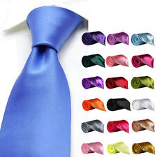 NEW HIGH QUALITY PLAIN MENS WEDDING SKINNY TIE NECKTIE BOS UK