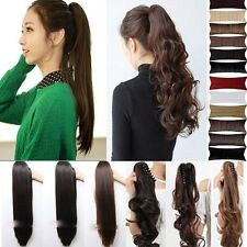 Great price Clip in claw Ponytail Hair Extensions 22-18-16 Straight curl CA wm