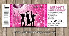 Personalised Ticket Style Funky Disco Dance Birthday Invitations