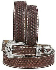 Justin Lone Star Hand Tooled Western Belt C10098