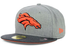 Official Denver Broncos New Era 59FIFTY Fitted Hat NFL Heather 2 Tone