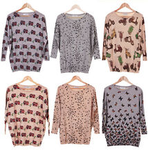 New Womens Oversize Casual Loose Owl Bird Vespa Cute Vintage Print Jumper Top