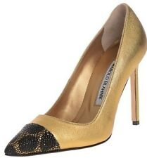 New Manolo Blahnik BB BIPUNTA 105 Gold Black Stingray Shoes Pumps 35.5 36.5 37.5